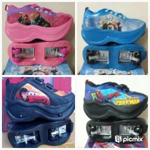 Merk Disney bisa Sepatu bisa SEPATU 4 RODA, .Gambar frozen Pink , Biru Frozen HITAM MERAH CARS dan BIRU HITAM SPIDERMAN no 28-36 Rp 265.000
